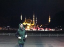 Standing in front of the Blue Mosque, Istanbul, Turkey.