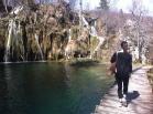 Hiking through Plitvice Lakes National Park in Croatia.