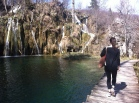 Hiking through Plitvice Lakes National Park in Croatia.