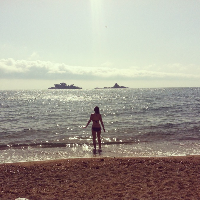 In Petrovac, soaking up the Adriatic one last time... for a while.